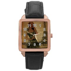 Retro Telephone Lady Vintage Newspaper Print Pin Up Girl Paris Eiffel Tower Rose Gold Leather Watch