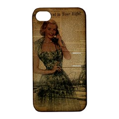 Retro Telephone Lady Vintage Newspaper Print Pin Up Girl Paris Eiffel Tower Apple iPhone 4/4S Hardshell Case with Stand
