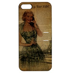 Retro Telephone Lady Vintage Newspaper Print Pin Up Girl Paris Eiffel Tower Apple iPhone 5 Hardshell Case with Stand