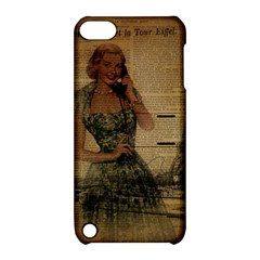 Retro Telephone Lady Vintage Newspaper Print Pin Up Girl Paris Eiffel Tower Apple iPod Touch 5 Hardshell Case with Stand