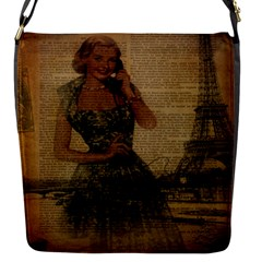 Retro Telephone Lady Vintage Newspaper Print Pin Up Girl Paris Eiffel Tower Flap Closure Messenger Bag (small)