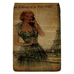Retro Telephone Lady Vintage Newspaper Print Pin Up Girl Paris Eiffel Tower Removable Flap Cover (Small)