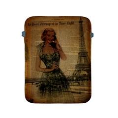Retro Telephone Lady Vintage Newspaper Print Pin Up Girl Paris Eiffel Tower Apple Ipad 2/3/4 Protective Soft Case