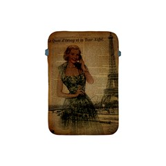 Retro Telephone Lady Vintage Newspaper Print Pin Up Girl Paris Eiffel Tower Apple iPad Mini Protective Soft Case