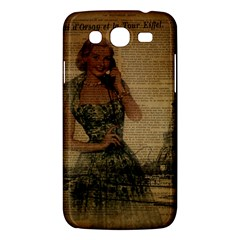 Retro Telephone Lady Vintage Newspaper Print Pin Up Girl Paris Eiffel Tower Samsung Galaxy Mega 5.8 I9152 Hardshell Case