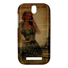 Retro Telephone Lady Vintage Newspaper Print Pin Up Girl Paris Eiffel Tower HTC One SV Hardshell Case