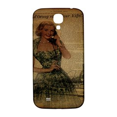 Retro Telephone Lady Vintage Newspaper Print Pin Up Girl Paris Eiffel Tower Samsung Galaxy S4 I9500/I9505  Hardshell Back Case