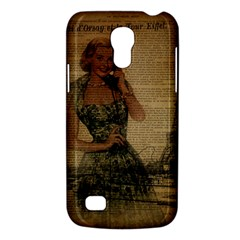 Retro Telephone Lady Vintage Newspaper Print Pin Up Girl Paris Eiffel Tower Samsung Galaxy S4 Mini Hardshell Case