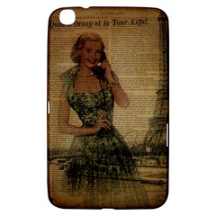 Retro Telephone Lady Vintage Newspaper Print Pin Up Girl Paris Eiffel Tower Samsung Galaxy Tab 3 (8 ) T3100 Hardshell Case