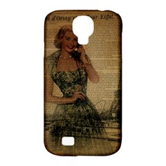 Retro Telephone Lady Vintage Newspaper Print Pin Up Girl Paris Eiffel Tower Samsung Galaxy S4 Classic Hardshell Case (PC+Silicone)
