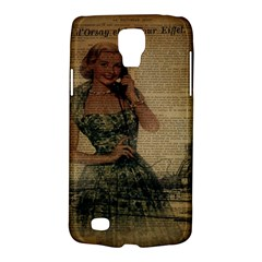 Retro Telephone Lady Vintage Newspaper Print Pin Up Girl Paris Eiffel Tower Samsung Galaxy S4 Active (i9295) Hardshell Case