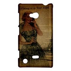 Retro Telephone Lady Vintage Newspaper Print Pin Up Girl Paris Eiffel Tower Nokia Lumia 720 Hardshell Case