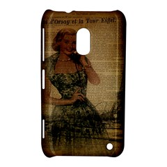 Retro Telephone Lady Vintage Newspaper Print Pin Up Girl Paris Eiffel Tower Nokia Lumia 620 Hardshell Case