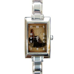 Elegant Evening Gown Lady Vintage Newspaper Print Pin Up Girl Paris Eiffel Tower Rectangular Italian Charm Watch