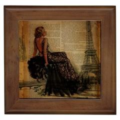 Elegant Evening Gown Lady Vintage Newspaper Print Pin Up Girl Paris Eiffel Tower Framed Ceramic Tile