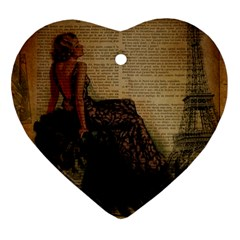 Elegant Evening Gown Lady Vintage Newspaper Print Pin Up Girl Paris Eiffel Tower Heart Ornament