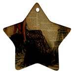 Elegant Evening Gown Lady Vintage Newspaper Print Pin Up Girl Paris Eiffel Tower Star Ornament Front