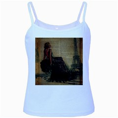 Elegant Evening Gown Lady Vintage Newspaper Print Pin Up Girl Paris Eiffel Tower Baby Blue Spaghetti Tank