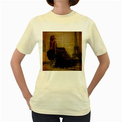 Elegant Evening Gown Lady Vintage Newspaper Print Pin Up Girl Paris Eiffel Tower  Womens  T Shirt (yellow)