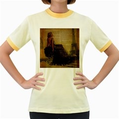 Elegant Evening Gown Lady Vintage Newspaper Print Pin Up Girl Paris Eiffel Tower Womens  Ringer T Shirt (colored)