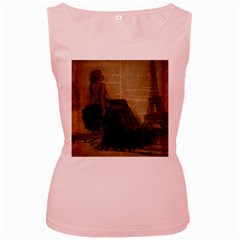 Elegant Evening Gown Lady Vintage Newspaper Print Pin Up Girl Paris Eiffel Tower Womens  Tank Top (Pink)