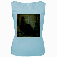 Elegant Evening Gown Lady Vintage Newspaper Print Pin Up Girl Paris Eiffel Tower Womens  Tank Top (Baby Blue)