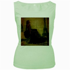 Elegant Evening Gown Lady Vintage Newspaper Print Pin Up Girl Paris Eiffel Tower Womens  Tank Top (green)