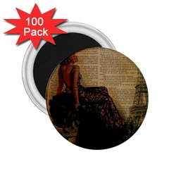 Elegant Evening Gown Lady Vintage Newspaper Print Pin Up Girl Paris Eiffel Tower 2 25  Button Magnet (100 Pack)