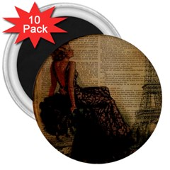Elegant Evening Gown Lady Vintage Newspaper Print Pin Up Girl Paris Eiffel Tower 3  Button Magnet (10 Pack)