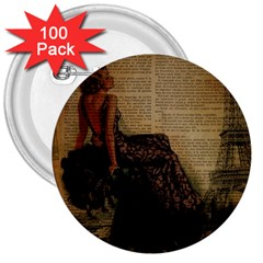 Elegant Evening Gown Lady Vintage Newspaper Print Pin Up Girl Paris Eiffel Tower 3  Button (100 Pack)