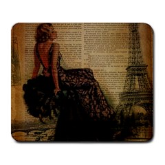 Elegant Evening Gown Lady Vintage Newspaper Print Pin Up Girl Paris Eiffel Tower Large Mouse Pad (Rectangle)