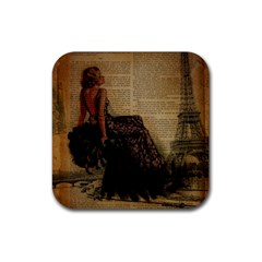 Elegant Evening Gown Lady Vintage Newspaper Print Pin Up Girl Paris Eiffel Tower Drink Coasters 4 Pack (square)