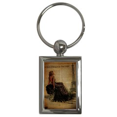 Elegant Evening Gown Lady Vintage Newspaper Print Pin Up Girl Paris Eiffel Tower Key Chain (Rectangle)