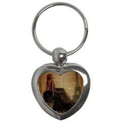 Elegant Evening Gown Lady Vintage Newspaper Print Pin Up Girl Paris Eiffel Tower Key Chain (Heart)
