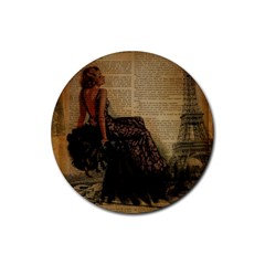 Elegant Evening Gown Lady Vintage Newspaper Print Pin Up Girl Paris Eiffel Tower Drink Coasters 4 Pack (Round)