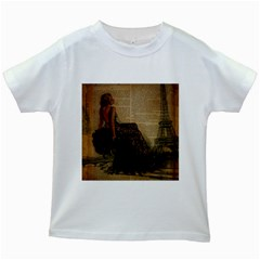 Elegant Evening Gown Lady Vintage Newspaper Print Pin Up Girl Paris Eiffel Tower Kids' T Shirt (white)