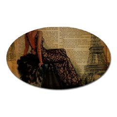 Elegant Evening Gown Lady Vintage Newspaper Print Pin Up Girl Paris Eiffel Tower Magnet (oval)