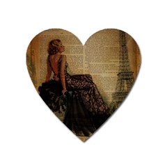 Elegant Evening Gown Lady Vintage Newspaper Print Pin Up Girl Paris Eiffel Tower Magnet (Heart)