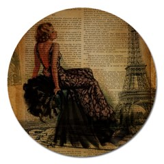 Elegant Evening Gown Lady Vintage Newspaper Print Pin Up Girl Paris Eiffel Tower Magnet 5  (Round)