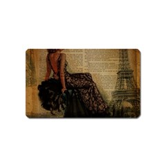 Elegant Evening Gown Lady Vintage Newspaper Print Pin Up Girl Paris Eiffel Tower Magnet (Name Card)