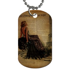 Elegant Evening Gown Lady Vintage Newspaper Print Pin Up Girl Paris Eiffel Tower Dog Tag (One Sided)