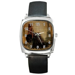 Elegant Evening Gown Lady Vintage Newspaper Print Pin Up Girl Paris Eiffel Tower Square Leather Watch