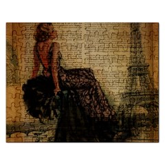 Elegant Evening Gown Lady Vintage Newspaper Print Pin Up Girl Paris Eiffel Tower Jigsaw Puzzle (Rectangle)