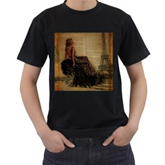 Elegant Evening Gown Lady Vintage Newspaper Print Pin Up Girl Paris Eiffel Tower Mens' Two Sided T Shirt (black)