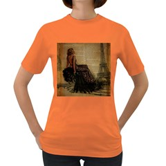 Elegant Evening Gown Lady Vintage Newspaper Print Pin Up Girl Paris Eiffel Tower Womens' T-shirt (Colored)