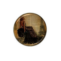 Elegant Evening Gown Lady Vintage Newspaper Print Pin Up Girl Paris Eiffel Tower Golf Ball Marker 4 Pack (for Hat Clip)