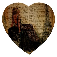 Elegant Evening Gown Lady Vintage Newspaper Print Pin Up Girl Paris Eiffel Tower Jigsaw Puzzle (Heart)
