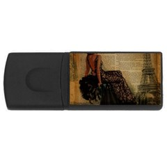 Elegant Evening Gown Lady Vintage Newspaper Print Pin Up Girl Paris Eiffel Tower 4gb Usb Flash Drive (rectangle)