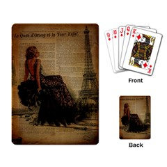 Elegant Evening Gown Lady Vintage Newspaper Print Pin Up Girl Paris Eiffel Tower Playing Cards Single Design