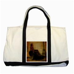 Elegant Evening Gown Lady Vintage Newspaper Print Pin Up Girl Paris Eiffel Tower Two Toned Tote Bag